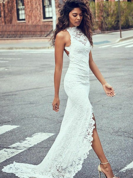 Trumpet/Mermaid Lace Halter Sleeveless Sweep/Brush Train Wedding Dress