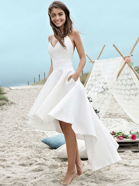 A-Line/Princess Satin Sleeveless Spaghetti Straps Asymmetrical Wedding Dress