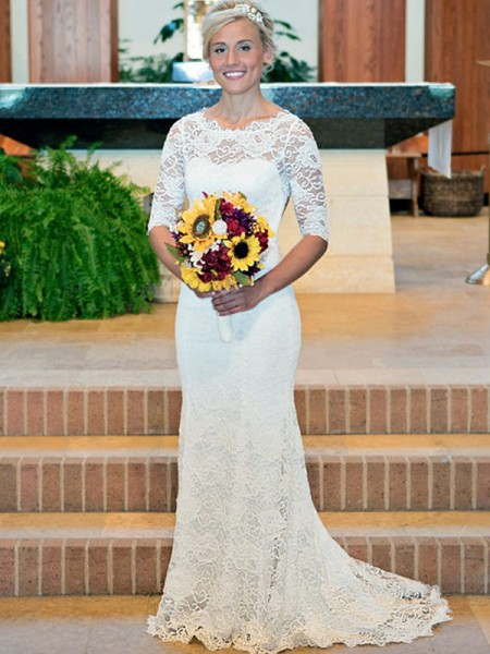 Sheath/Column Lace Scoop 1/2 Sleeves Sweep/Brush Train Wedding Dress