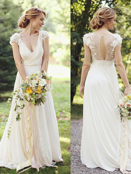 A-Line/Princess Chiffon V-neck Short Sleeves Sweep/Brush Train Wedding Dress