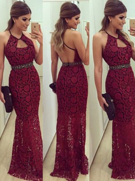Sheath/Column Floor-Length Halter Lace Dress
