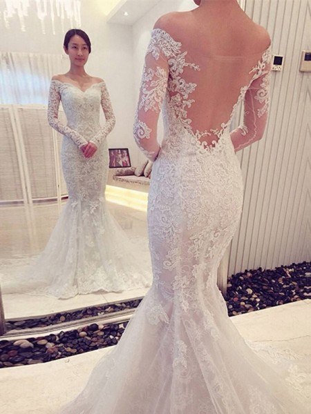 Trumpet/Mermaid Off-the-Shoulder Long Sleeves Lace Chapel Train Wedding Dress