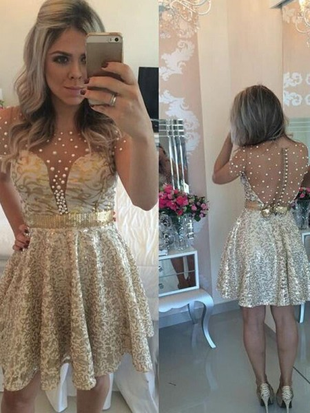 A-Line/Princess Scoop Sequin Satin Short/Mini Dress