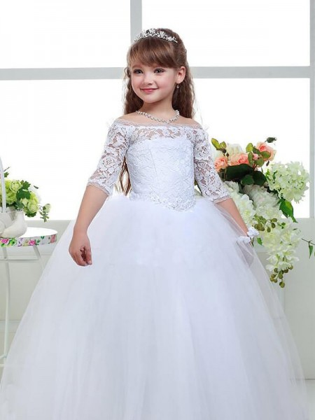 Ball Gown Off-the-Shoulder Floor-Length Tulle Flower Girl Dress with Lace