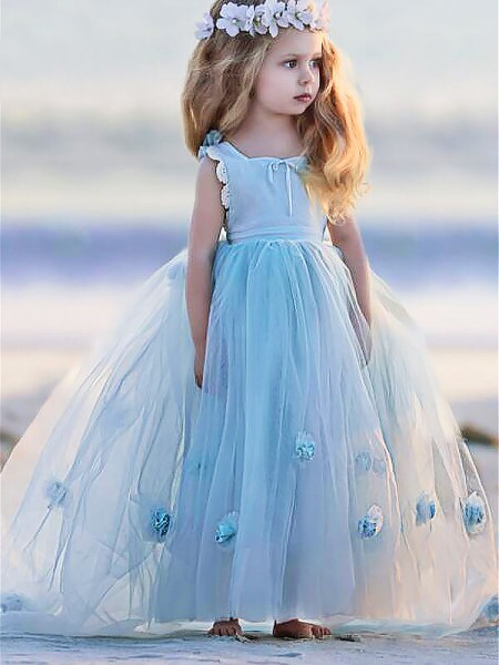 Ball Gown Bateau Hand-Made Flower Floor-Length Tulle Flower Girl Dress