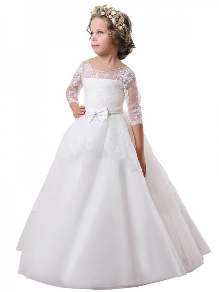 Ball Gown Jewel Sweep/Brush Train Satin Flower Girl Dress with Lace
