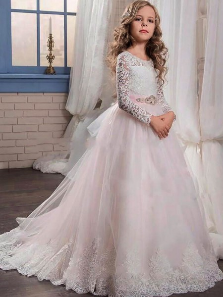 Ball Gown Jewel Sweep/Brush Train Tulle Flower Girl Dress with Lace