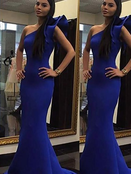 Trumpet/Mermaid One-Shoulder Ruffles Sweep/Brush Train Satin Dress
