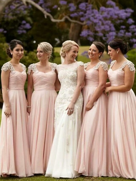 A-Line/Princess Square Chiffon Floor-Length Bridesmaid Dress