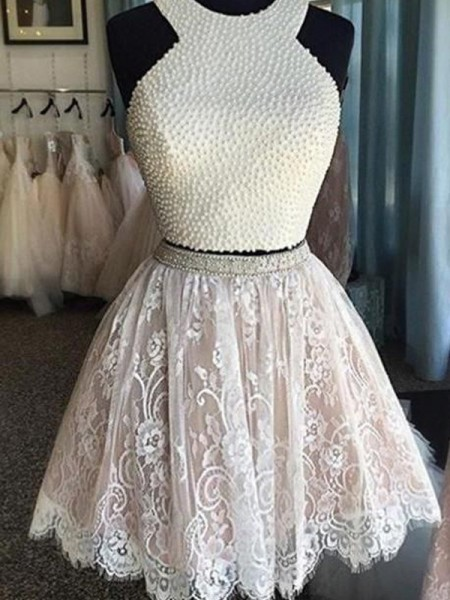 A-Line/Princess Halter Pearls Short/Mini Lace Two Piece Dress