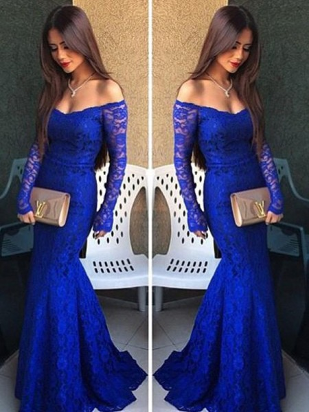 Trumpet/Mermaid Off-the-Shoulder Long Sleeves Lace Sweep/Brush Train Dress