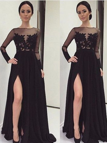A-Line/Princess Bateau Long Sleeves Lace Floor-Length Chiffon Dress