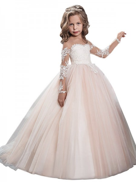 Ball Gown Scoop Sweep/Brush Train Tulle Flower Girl Dress