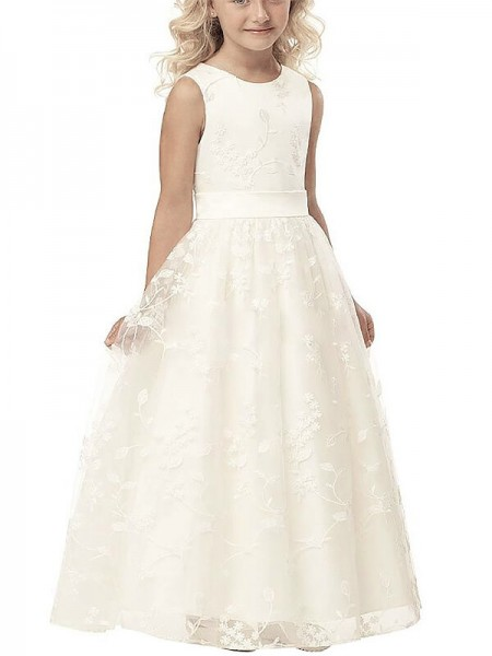 A-line/Princess Scoop Applique Tulle Floor-Length Flower Girl Dress