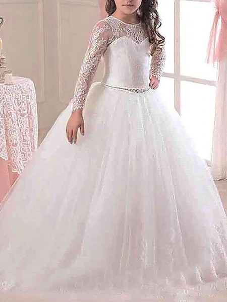 Ball Gown Scoop Floor-Length Tulle Flower Girl Dress with Lace