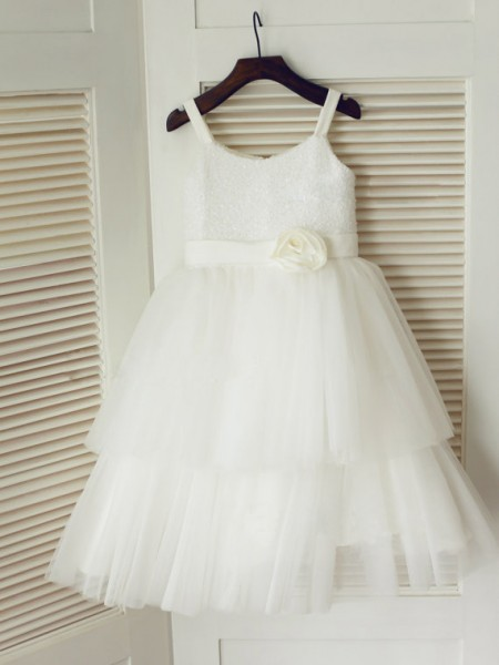 A-line/Princess Spaghetti Straps Hand-Made Flower Tulle Dress